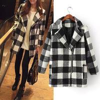 Oblique zipper plaid women Cashmere coat 2014 NEW woolen coat woman jacket winter overcoat Woolen coat long outwear suit trench