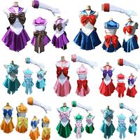 2014 New Arrival Ladies Sexy Sailor Moon Costume Cartoon Movie Cosplay Girl Mercury Moon Mars Dress Wholesale Halloween Costume
