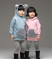 2014 boy girl Outfits Children clothing Sets ear Hooded Coat Tops Kid Hoodies + Leggings
