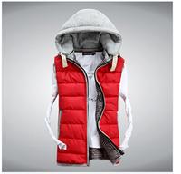 winter fashion slim male hooded outerwear men popular all-match down vest