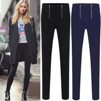 B813 2XL-5XL Women's Fashion 2014 New Autumn Big Size Bodycon Skinny Stretch High Waist Double Zip Long Pencil Pants Trousers