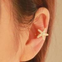 2pcs 2014 New Trendy Chic Crystal Rhinestone Starfish Golden Earring Ear Clip Cuff