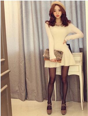 новые осенние зимние шерстяные платья Мода