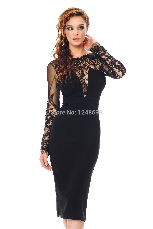 Below the knee black cocktail dress