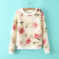 New201409 Winter/Autumn Pullover Knit Hoodie Women Floral Print Organza Sweatshirt/hoodies Loose Full Sleeve Free Shipping