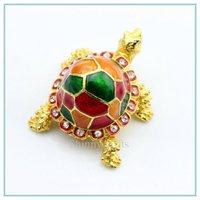 Small Oil painting tortoise shape jewelry box small travel enamel metal Jewelry box china SCJ080