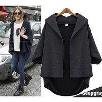 B636 XL-5XL Plus Size Euroepan Style 2014 New Autumn Fashion Zara2014 Loose Woolen Batwing Cardigan Women's Overcoat Cloak Coat