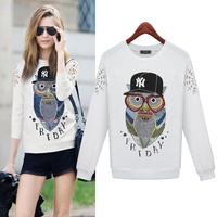 free shipping In the fall of 2014 new sports fleece women's sweater parrot print loose sweater jackets women women coat