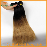 Brazilian Ombre Hair Extensions Straight Two Tone Human Hair Weft 3/4pcs 10''-30'' Color 1b/27# Straight Ombre Hair Weave CS3401