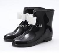 Drop Shipping2014 New Arrive Short Bow Bowknot Rain Boots Rubber Flat Heel Ankle Rainboots Fashion Galoshe 36-40 European Sizes