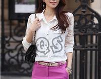 New fashion lace long sleeve autumn women blouse & shirts chiffon tops blusas Q1009