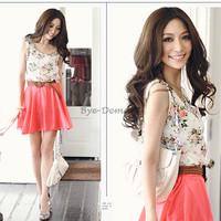 New Fashion  Women Flower Pattern Sleeveless Chiffon Mini Casual Summer Dress 2014