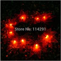 2014 New SLRM1 10 LED Red Maple Leaf Solar String Lights innovative decoration led string lights luminaria solar powered