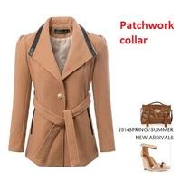 medium-long women Cashmere coat 2014 brand NEW woolen coat woman jacket winter overcoat Woolen coat long outwear suit trench
