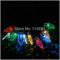 2014 New SLL02 20 LED Colorful Leaf Solar String Lights luminaria led string lights solar powered innovative decorationled