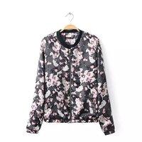 2014 new girl fashion polyester leopard standing collar full sleeves zipper closure elastic hem regular bomber jackets 234527