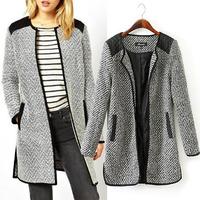 mixed color diamond stripe side split Slim Jacket 2014 slim overcoat female autumn winter outerwear casual coat women plus size
