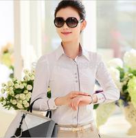 2014 women Striped long-sleeved chiffon blouse  Temperament lady occupation shirts