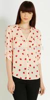 2014 new fashion women cute strawberry printed long sleeve chiffon blouse Lady casual brand design sexy v-neck shirt #J324