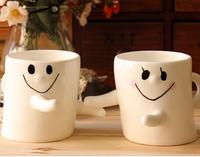 Couple Smile Hug Mug Cups for Lover's Gift. Ceramic Pottery Coffee Milk Hot TeaCouple Smile Hug Mug Cups for Lover's Gift.