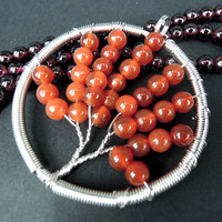 (10 Pcs/lot) New Fashion Wire Wrapped Life Tree Round Ball Red Agate Beads Circle Pendant Bead Wholesale