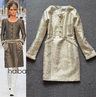 Best Grade New Designer Fashion Autumn Fall 2014 Women Beading Jacquard Cotton Print Party Dress Elegant Catwalk Model Dress