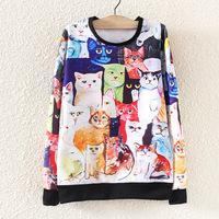 Women O-Neck Pullover Cat Hoodies Women Oversized Plus Size Cat Printed Long Sweatshirt