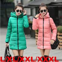Lanluu Hot 2014 Long Winter Coat Women Down Cotton Hooded Outwear Parkas Slim Jackets SQ893