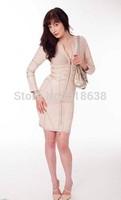 2014 High Quality  long sleeve zipper front beige metallic leatherette  Bandage Dress  Celebrity dress wholesale black/white