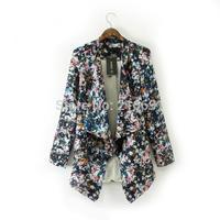 2014 new fashion Europe women Dazzle colour flowers print No Button Blazer Lady loose brand design cardigan outerwear#J327
