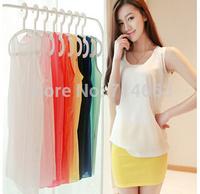 Summer Women's Sleeveless Chiffon Vest Candy Color Chiffon Unlined Sleeveless Vest  1003