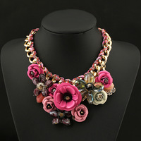 2014 new fashion rose pendant chocker necklaces vintage long Jewelry multicolour flower cotton Rope Knitted Chunky necklace