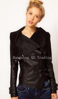 New 2014 Europe and America Women Leather Jacket Women Slim Coat Cool Fashion Lapel Long sleeve PU Leather Coat Women Black