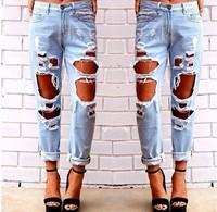 women vintage holes Ripped jeans blue white trousers plus size Female Retro denim capris European Fashion Casual pants clothing