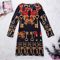 New Arrival 2014 Autumn Fashion Women Casual Dress National Vintage Folk Print Bohemia Style Plus size Winter  Dress 8 Colors