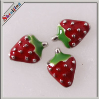 Wholesale Diy Pendants floating locket charms stawberry