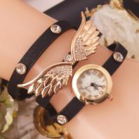 New arrival! High quality angel wings long leather strap Watch,Women Fashion Quartz Watches bracelet Dress wristwatch
