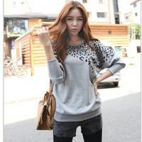 New Fashion women's 2014 Korean casual loose blouse sweet all-match bat sleeve long-sleeved leopard head sweater