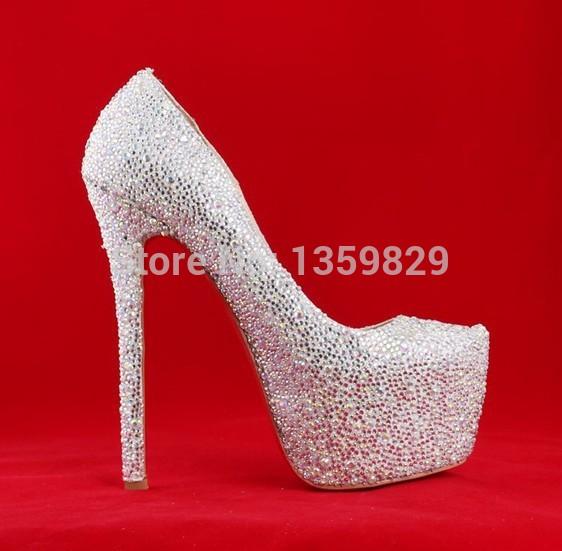 Women s crystal Pumps High Heels white Rhinestone Wedding platform ...