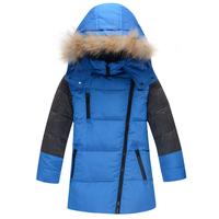 2014 New boy coat Large fur collar Personality oblique zipper contrast color Hooded down coat winter jacket for boy 3 Colors