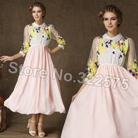 девушка опрятный стиль милый сладкий тонкий цветок вышивка белая органза розового шифона пэчворк длинные повседневные платья плюс размер xl sdl154