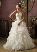 Bra waist wedding dress with paragraph mopping Qi organza beaded bridal wholesale advanced custom p