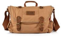 2014 New Canvas Bag fashion vintage handbag canvas messenger bag leisure travel big bag men canvas&genuine leather free shipping