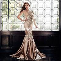 ONP103 New Stretch Satin One Shoulder Long Sleeve Rhinestone Prom Dresses Mermaid Cut