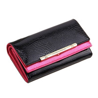 Genuine Leather crocodile Wallet Woman's Long  Wallet crystal Purse day clutch summer for gift