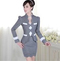 Coat and skirt 2014 autumn Fashion slim hip women career skirt wool blazer jacket lady work wear professional formal skirt suits
