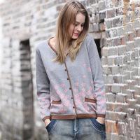 2014 Hitz original brand jacquard knit cardigan sweater large size women's fashion mother dress
