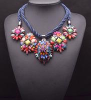 2014 high quality choker bib shourouk necklaces & pendants fashion chunky rainbow statement pendant Necklace for women 8469