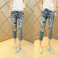 New Fashion Women Mid Waist Trousers Slim Trendy Cartoon Mickey Zipper Nine Points Jeans 10090 Free Shipping