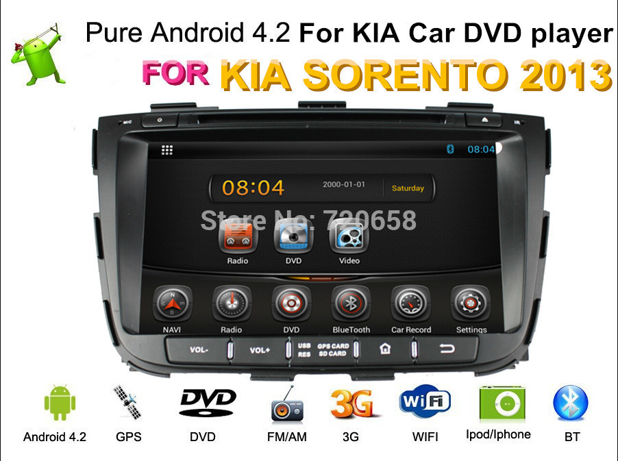 Автомобильный DVD плеер Kaichuang 4.2.2 DVD GPS KIA Sorento 1G /ram 1Gb /flash 8GB wifi TV 3G автомобильный dvd плеер oem 3g 1g ram 512m 6 2 dvd gps bluetooth bmw e90
